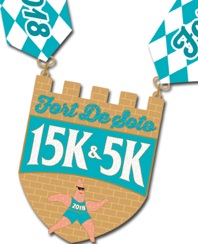 Fort De Soto 15K and 5K medal